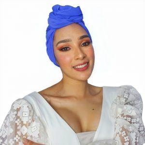 Gorro turbante oncológico azul